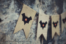 DIY Halloween bunting with bats and vintage paper