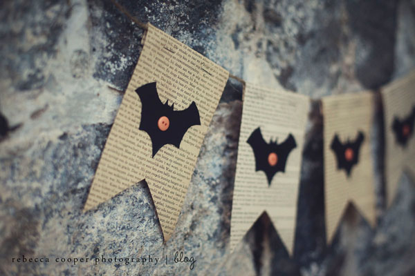 DIY Halloween bunting with bats and vintage paper (via simpleasthatblog.com)