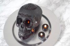 DIY matte black skull with blakc sequin decor for Halloween