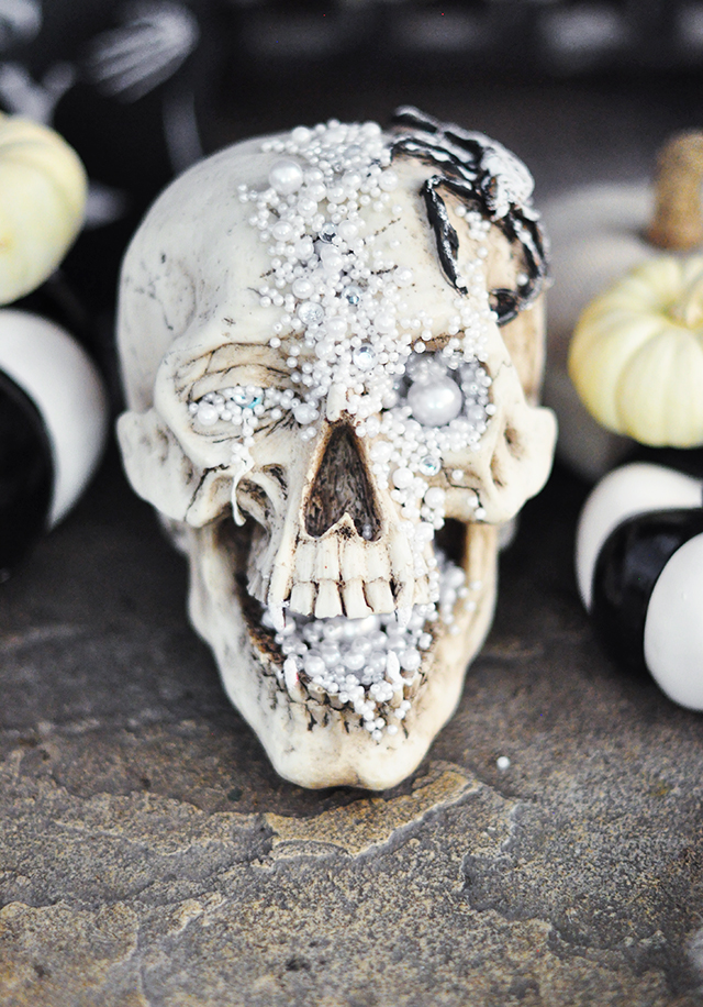 DIY creepy glam skull with pearls and beads all over