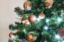 02 3D faceted and glitter rose gold and copper Christmas ornaments to add shiny and edgy touch to your Christmas tree