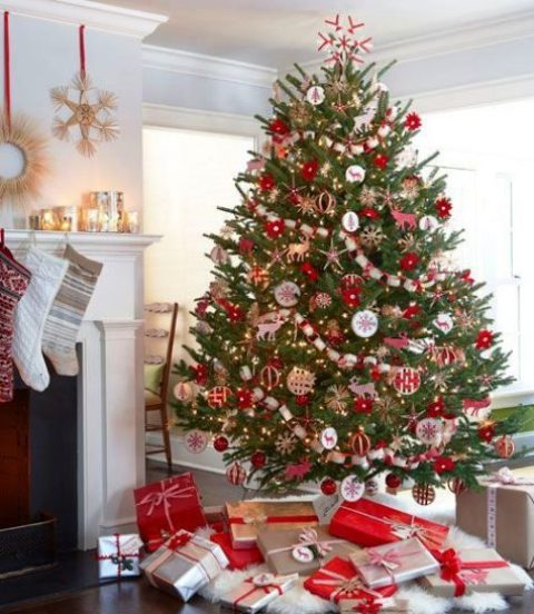 a cheerful and bold red and white Christmas tree decor and gifts in the same colors to match