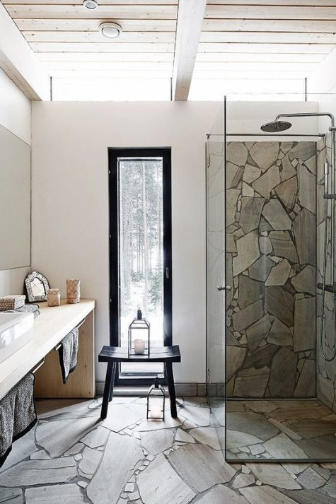 a contemporary bathroom with a floor and a shower space clad with stone plus a sleek modern vanity