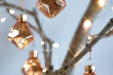 08 vintage copper 3D geometric Christmas ornaments are great to add a chic and cool touch to the space