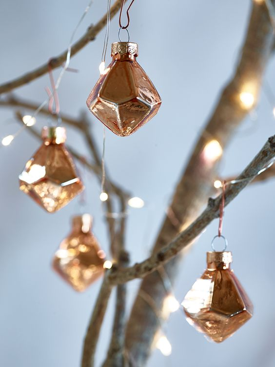 vintage copper 3D geometric Christmas ornaments are great to add a chic and cool touch to the space