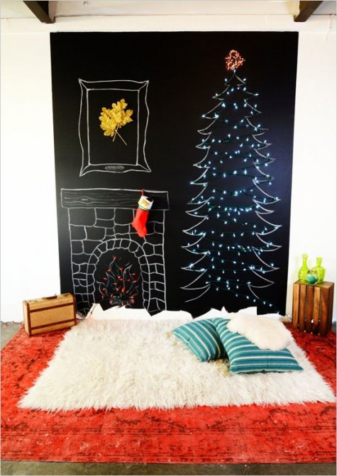 a chalkboard wall with a chalk tree decorated with lights, chalked fireplace and layered red and white rugs