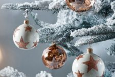 09 stylish white and copper star Christmas ball ornaments will make your tree and space refined and very elegant