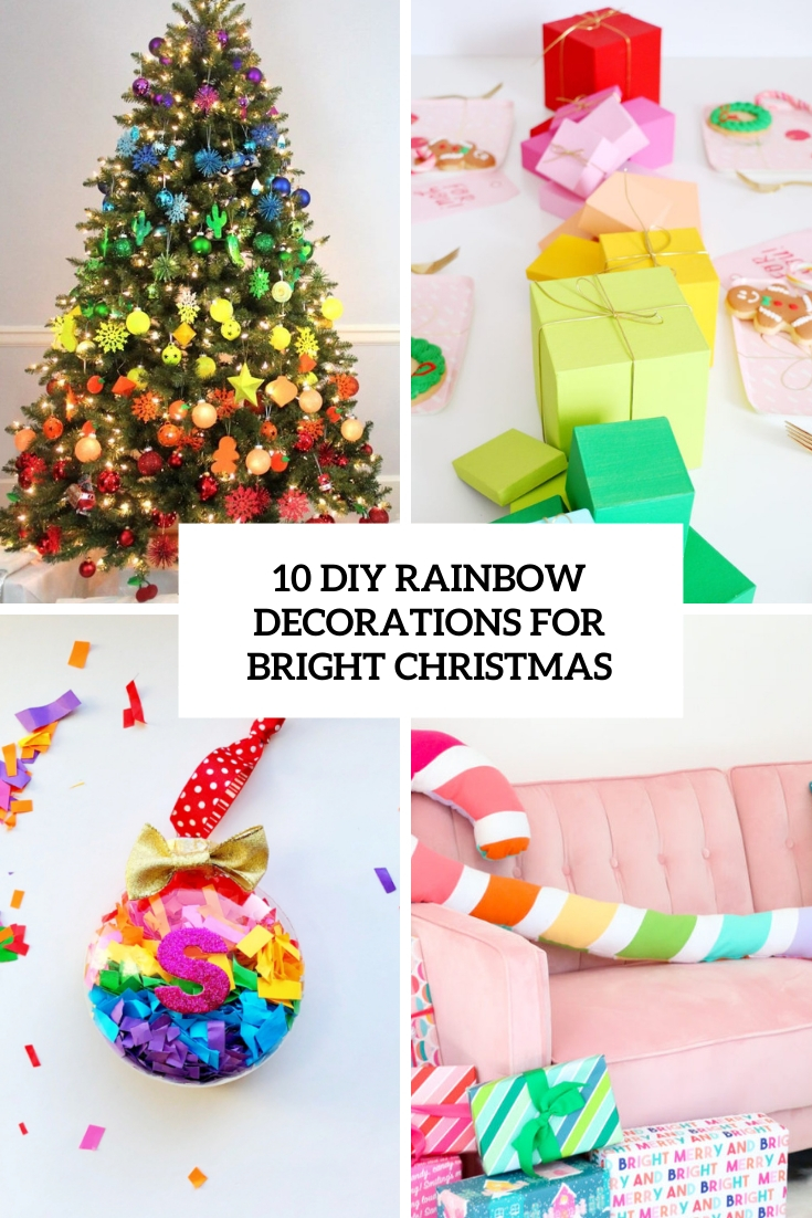 diy rainbow decorations for brigth christmas cover