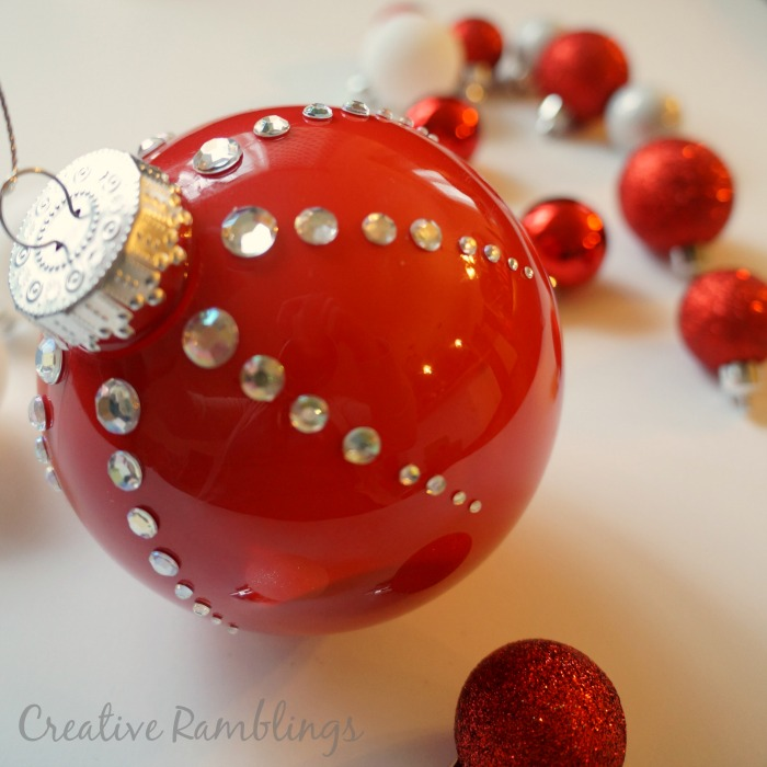 DIY red Christmas ornaments with silver rhinestones (via www.creativeramblingsblog.com)