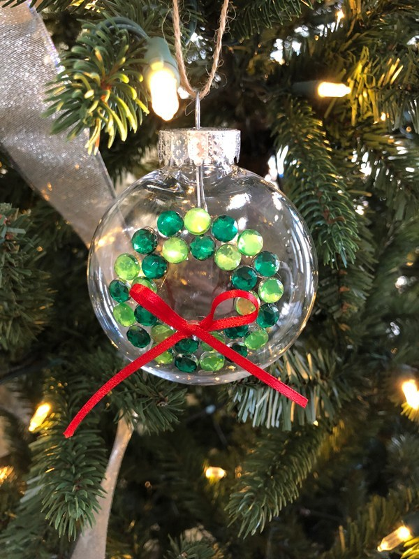DIY clear Christmas ornaments with wreaths of rhinestones (via cookiesandcalligraphy.com)