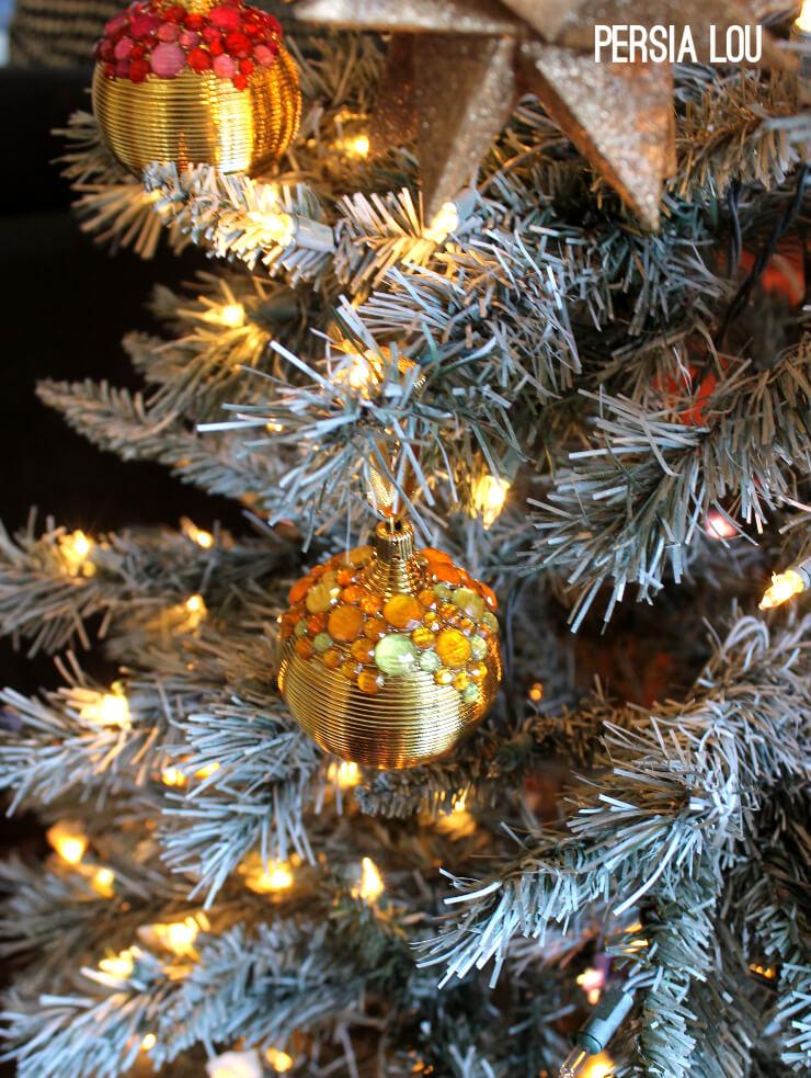 DIY textural gold ornaments with bright rhinestone detailing (via persialou.com)