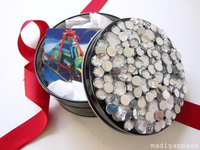 DIY rhinestone embellished gift box (via www.positivelysplendid.com)
