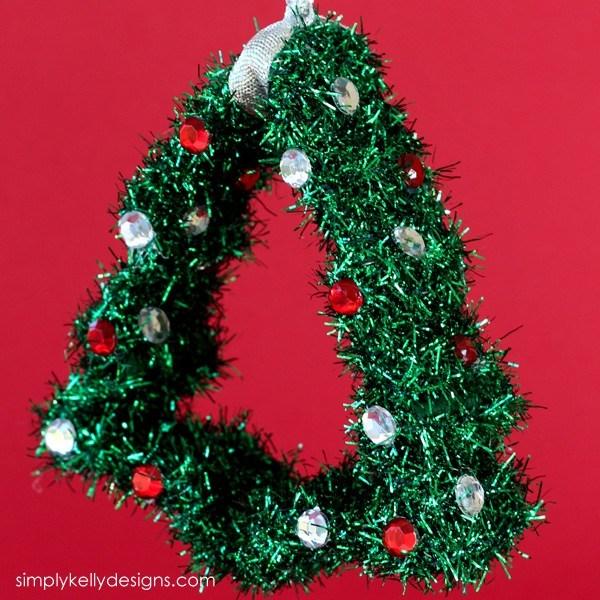 DIY Christmas tree ornament with colorful rhinestones (via simplykellydesigns.com)