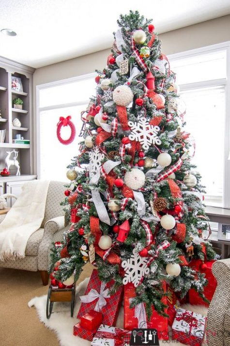 a gorgeous red and white Christmas tree with pinecones, metallic ornaments and large red gift boxes