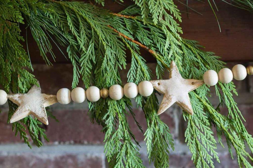 DIY salt dough star and wooden bead Christmas garland