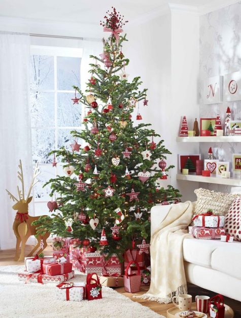 traditional Scandinavian-inspired red and white Christmas tree decor and matching red and white gift boxes