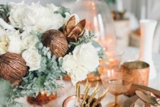 20 copper and white are a great combo for styling a Christmas or just winter table with a warm feel