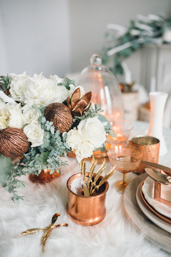 copper and white are a great combo for styling a Christmas or just winter table with a warm feel