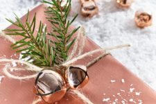 21 copper gift wrapping and bells and evergreen sprigs will make your Christmas gifts super special and desired