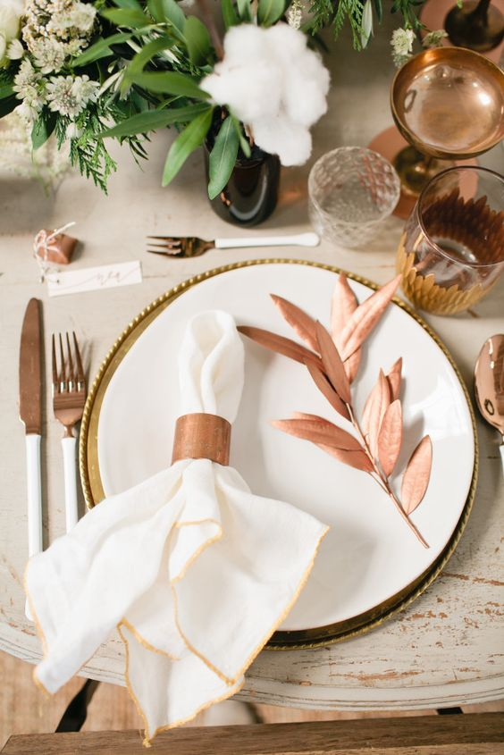 copper glasses, tableware and accessories are right what you need for a festive table