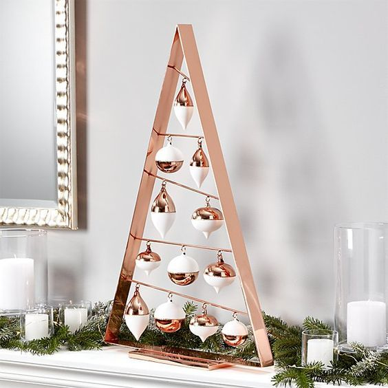 a tabletop copper frame Christmas tree with white and copper ornaments is great for mantels and tables