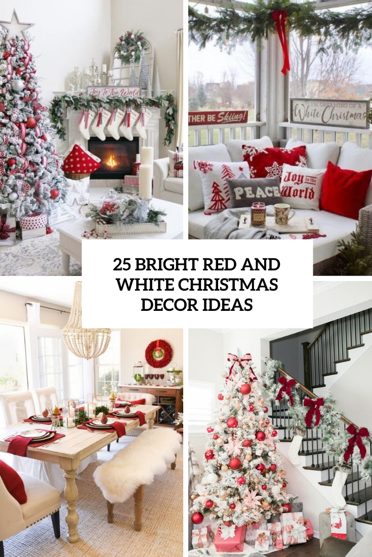 bright red and white christmas decor ideas cover