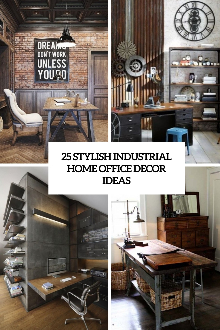 stylish industrial home office decor ideas cover