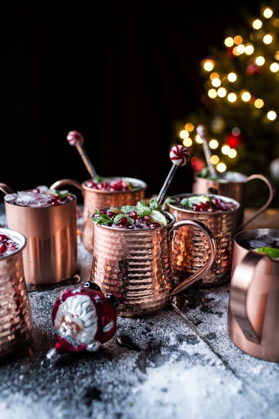 serve holiday drinks in hammered copper mugs to add a cozy and cute touch to the tablescape