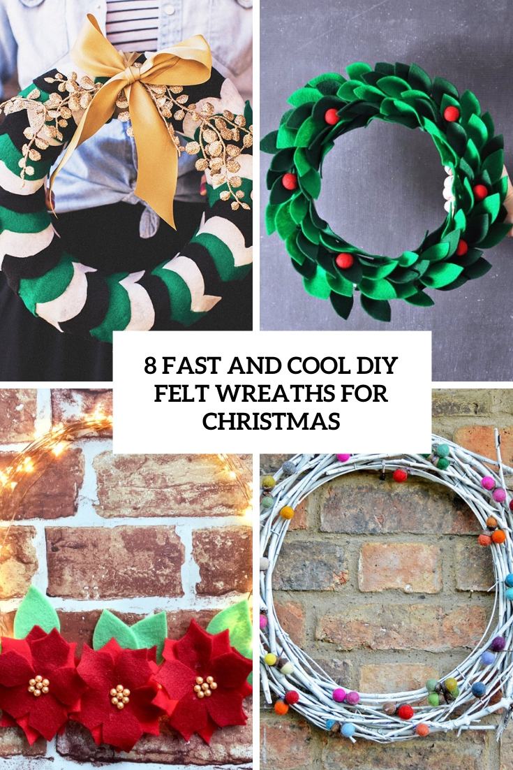 8 fast and cool diy felt wreaths for christmas cover