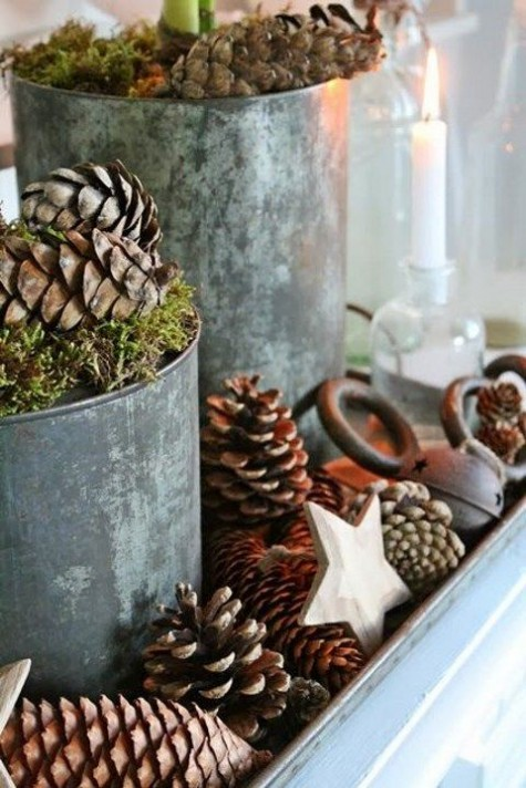 a tray with pinecones, stars, bells, buckets with moss and pinecones for a rustic Christmas
