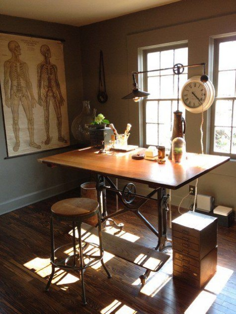 an industrial vintage home office with a desk with metal legs, a metal lamp, a vintage clock, a metal and wood stool plus a poster