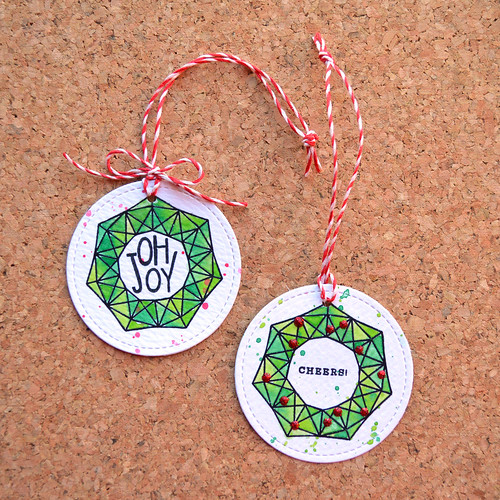 DIY quick watercolor cardboard Christmas ornament (via www.mossymade.com)