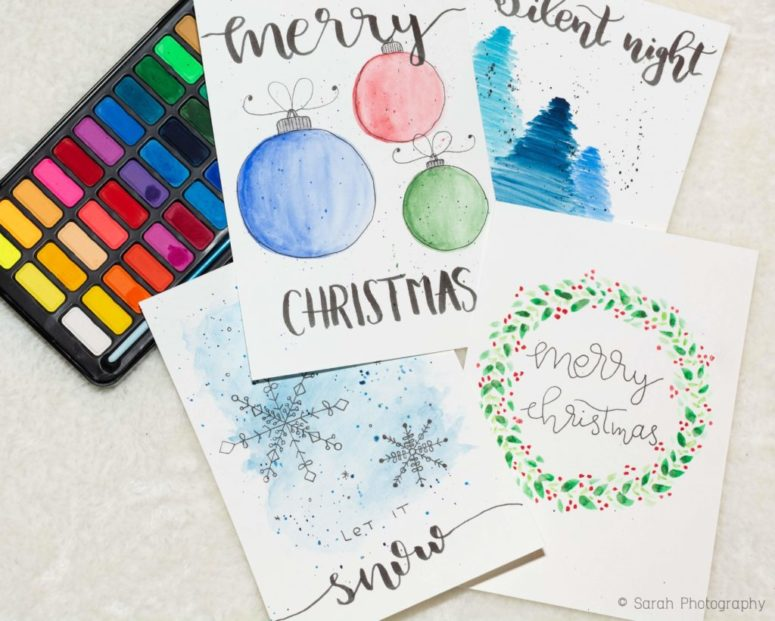 DIY delicate watercolor Christmas cards (via sarahs-journal.com)