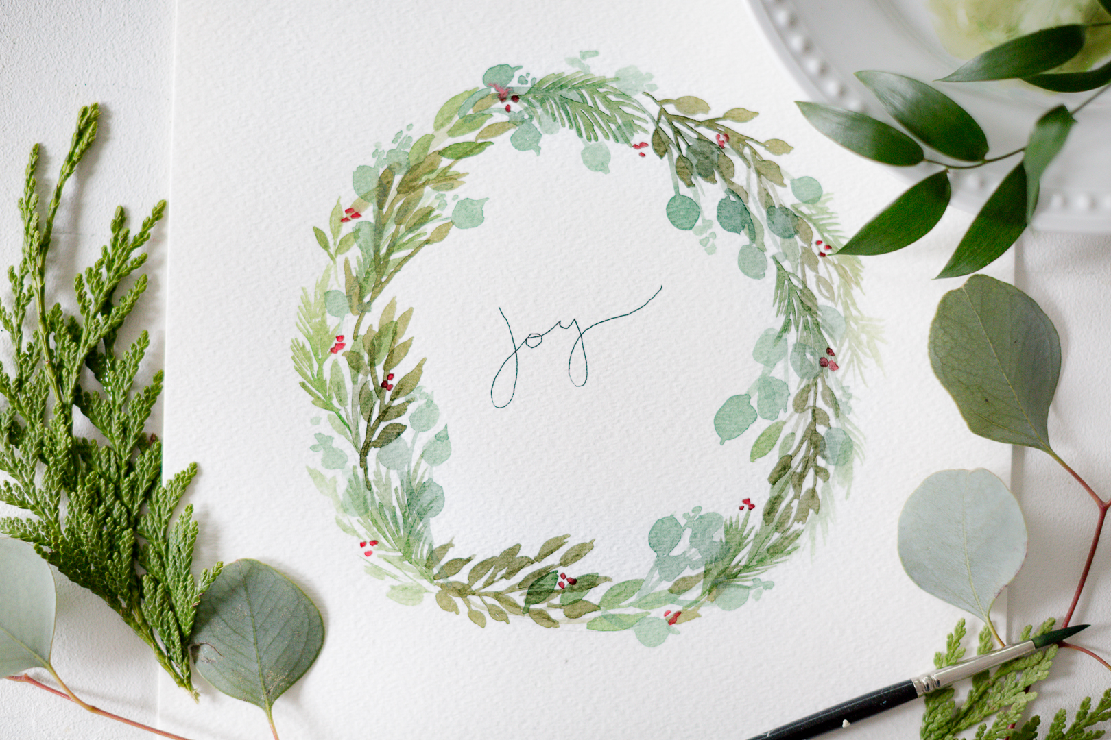 DIY watercolor Christmas wreath card or artwork