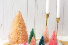 DIY quick colorful Christmas centerpiece with bottle brush trees