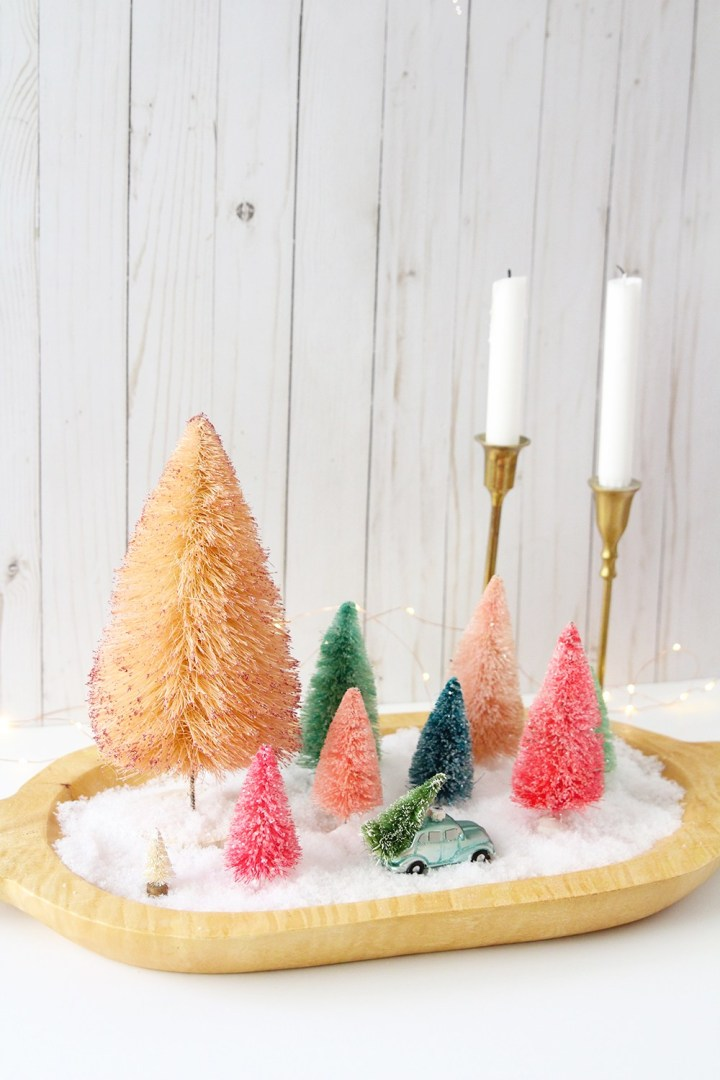 DIY quick colorful Christmas centerpiece with bottle brush trees (via blissmakes.com)