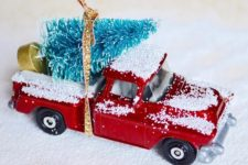 DIY Christmas tree and truck ornament