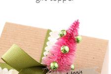 DIY bottle brush Christmas gift topper