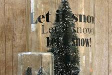 DIY bottle brush snow globes for Christmas