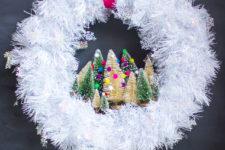 DIY snowflake Christmas wreath with bottle brush trees