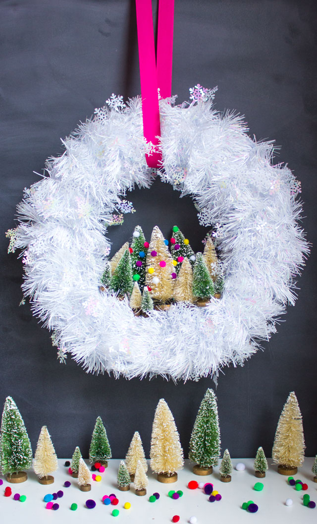 DIY snowflake Christmas wreath with bottle brush trees