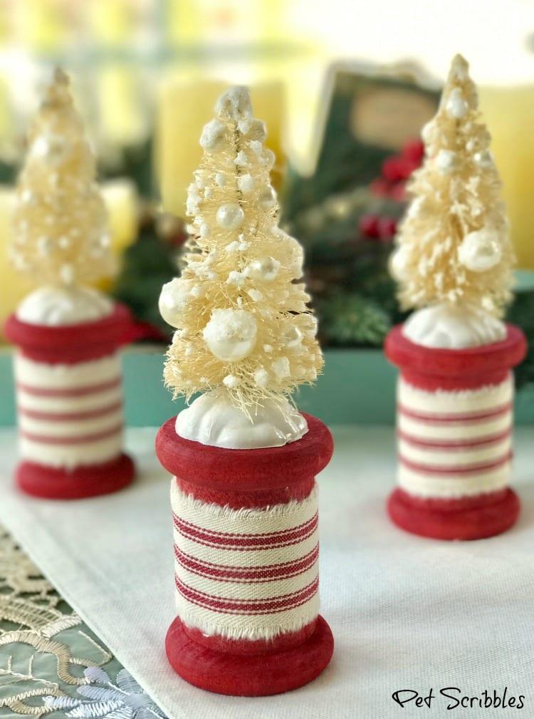 DIY bottle brush Christmas trees on spools