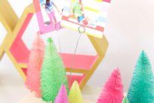 DIY colorful bottle brush tree photo holders