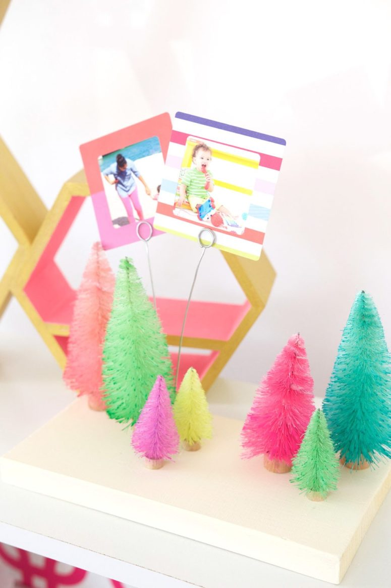 DIY colorful bottle brush tree photo holders (via damasklove.com)
