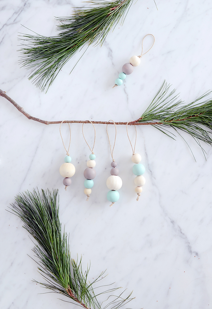 DIY pastel wooden bead Christmas ornaments