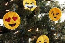 DIY bright embroidered emoji Christmas ornaments