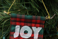 DIY plad embroidered Christmas ornament with JOY letters