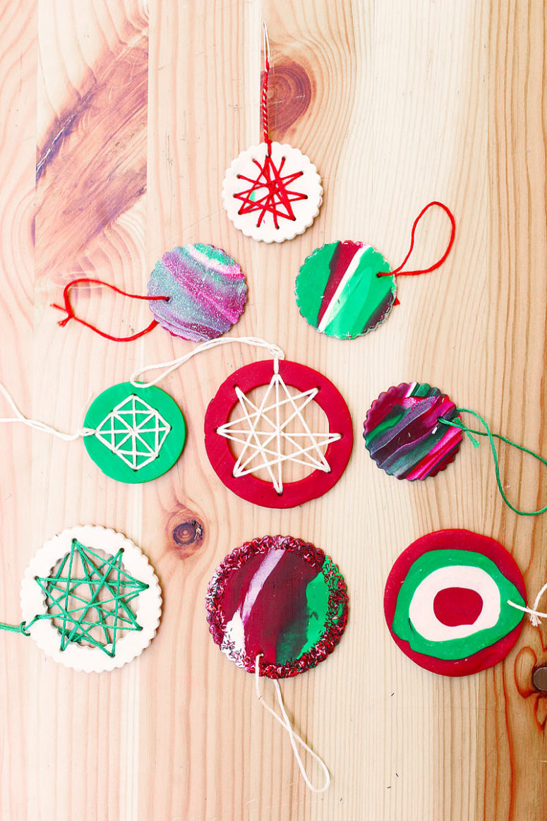 DIY modern embroidered Christmas ornaments of polymer clay (via babbledabbledo.com)