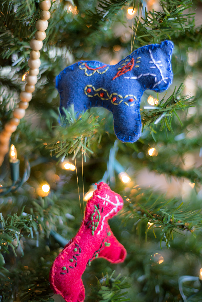 DIY stitched and beaded horse Christmas ornaments
