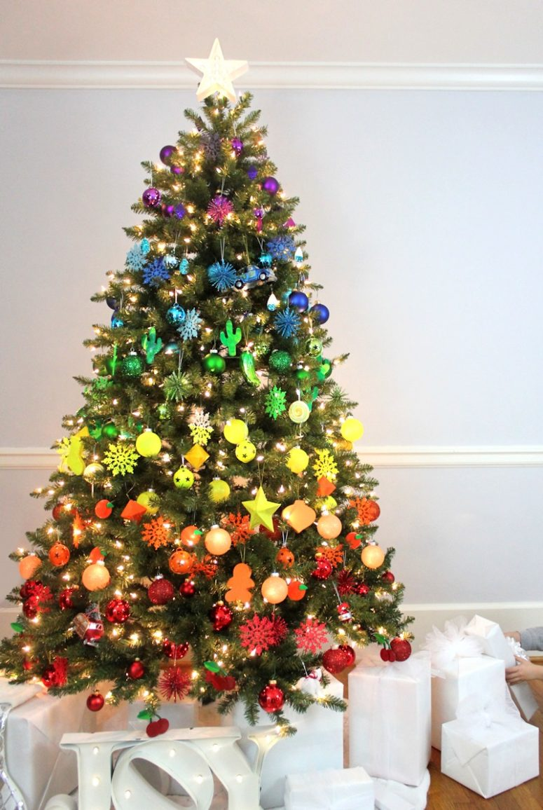DIY Christmas tree decorated with rainbow ornaments (via www.linesacross.com)